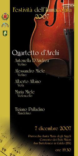 Quartetto d'archi questa sera al Convento