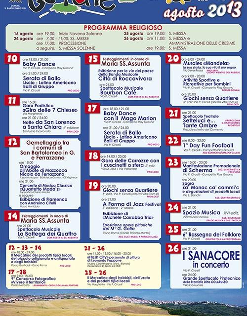 Estate Sanbartolomeana 2013 – Programma