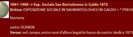 1872: La medaglia dell'Esposizione sociale in Sambartolomeo in Galdo