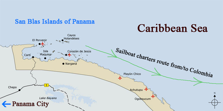 San Blas Islands Map Travelling to San Blas   Plane, sailboat or 4x4 Jeep