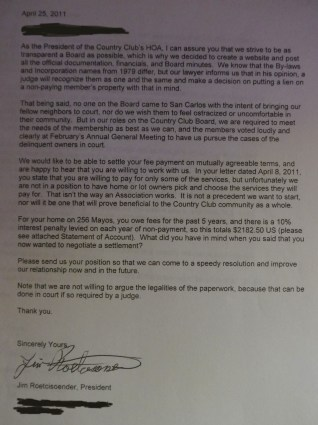 Letter to non paying Country Club residents