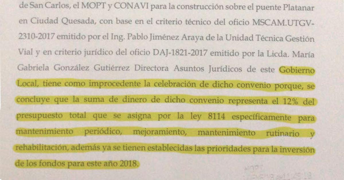 Municipalidad se retira de convenio y se suspende ampliación del Puente sobre el Río Platanar