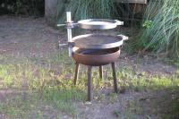 Grill the meat with fire pit grate