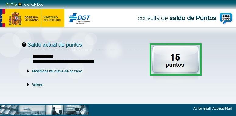 Consulta de saldo de puntos DGT sin clave ni certificado digital