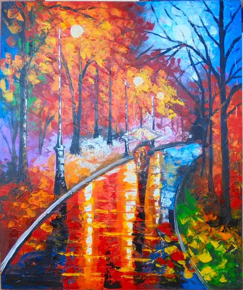 AT35 Lukisan Abstrak Taman  Sancita