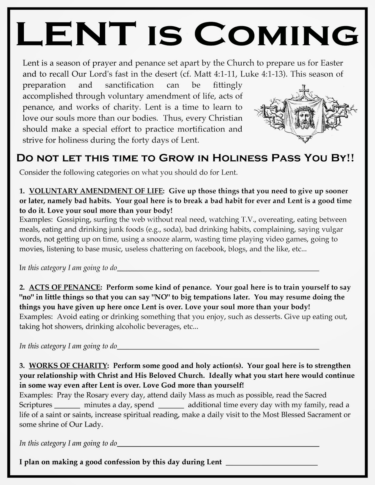 Lent Worksheet