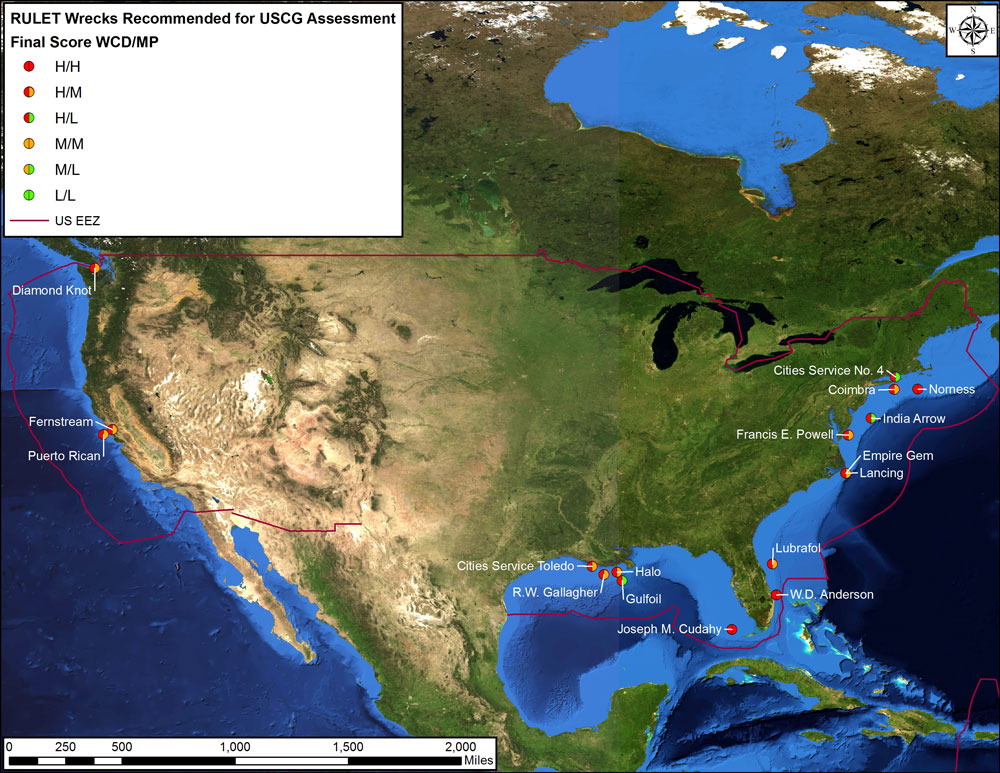 A map showing the name, location, and priority level of shipwrecks recommended to the U.S. Coast Guard for further pollution assessment. (NOAA)
