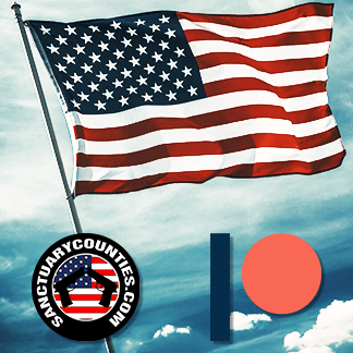 Picture of the American Flag with Sanctuary Counties and Patreon Logos