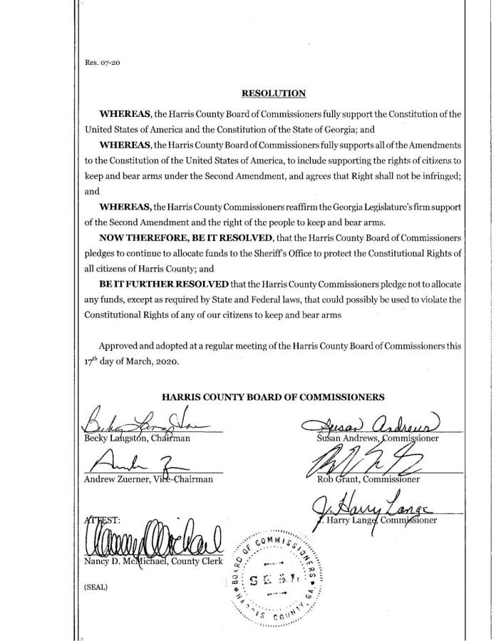 Harris County Board of Commissioners pass a resolution in support of the Constitutions of the United States of America and the State of Georgia.