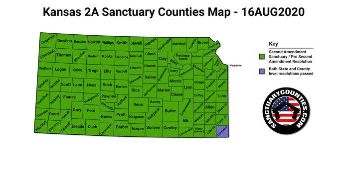 Kansas 2A Sanctuary Counties Map