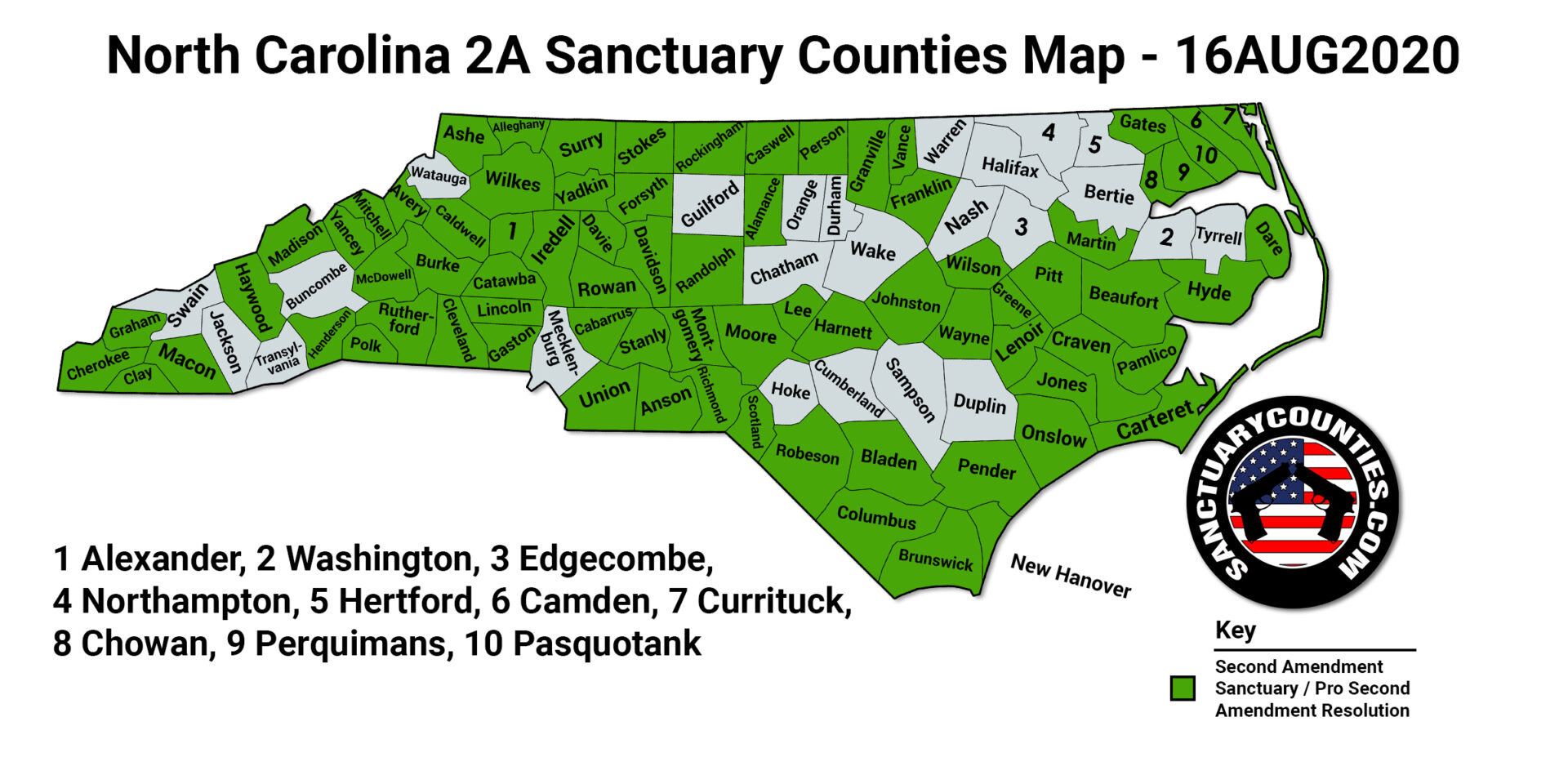 North Carolina 2A Sanctuary Counties Map