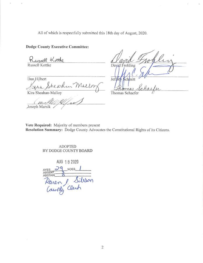 Dodge County Constitutional Rights Sanctuary Resolution Page 2.