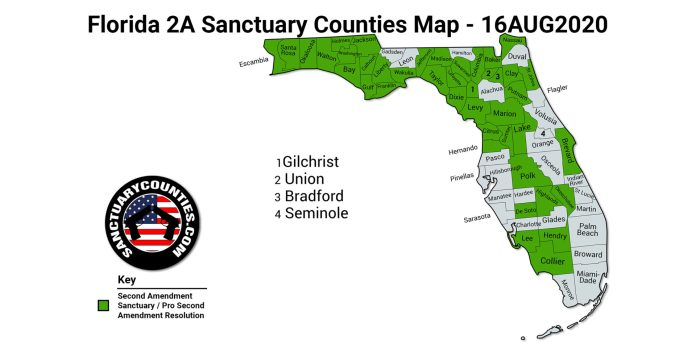 Florida 2A Sanctuary Counties Map