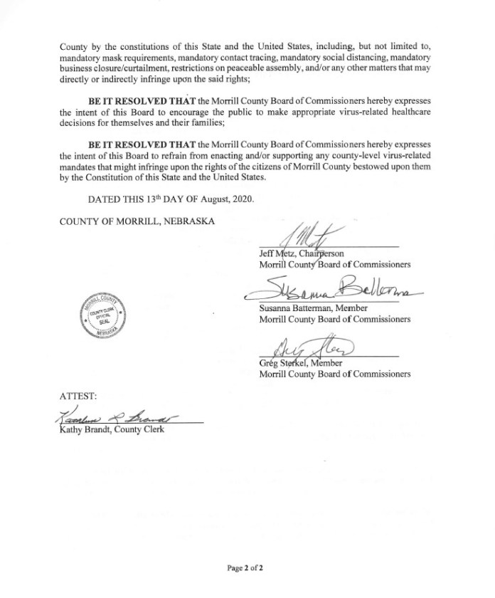 Resolution 2020-26 - Morrill County, Nebraska - Health Mandate Sanctuary Resolution Page 1