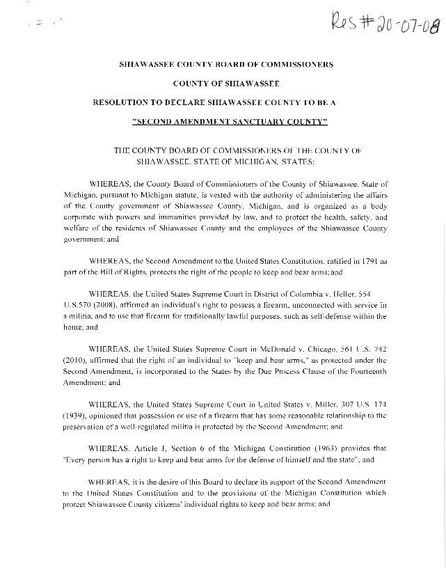 Shiawassee County Second Amendment Sanctuary Resolution - Page 1