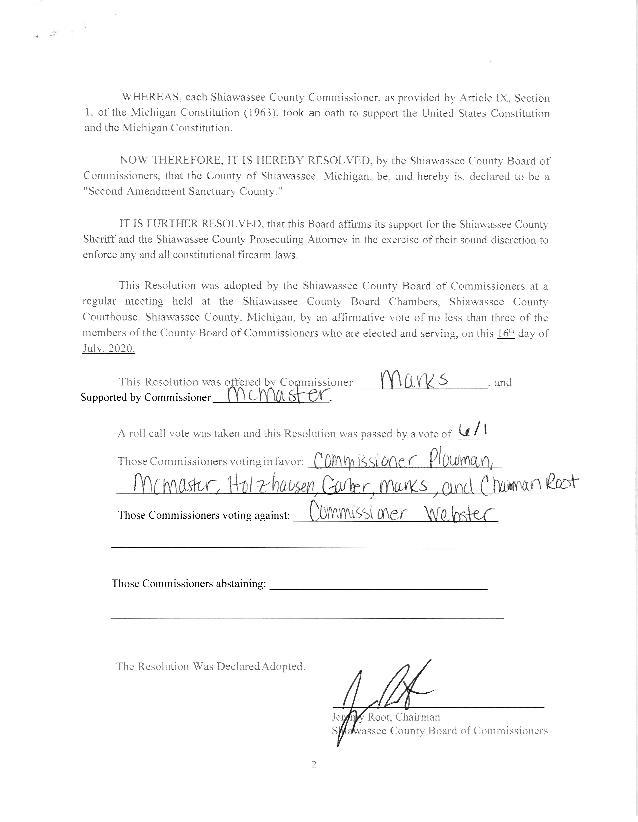 Shiawassee County Second Amendment Sanctuary Resolution - Page 2