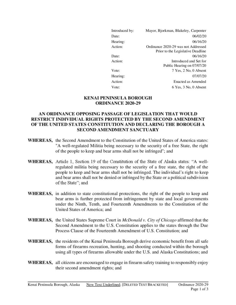 Kenai Peninsula Borough Second Amendment Sanctuary Ordinance 2020-29 page 1