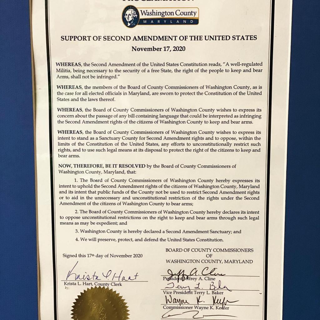 Washington County, Maryland Second Amendment Sanctuary Resolution