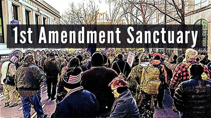 Picture showing a Pro Second Amendment Rally - Text reads: !st Amendment Sanctuary