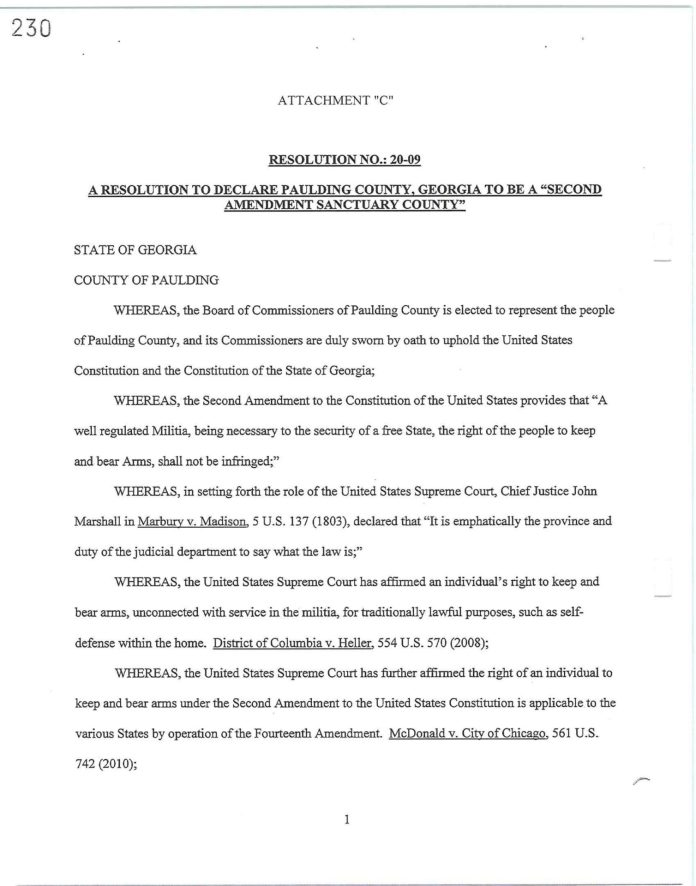 Paulding County 2A Sanctuary Resolution Page 1