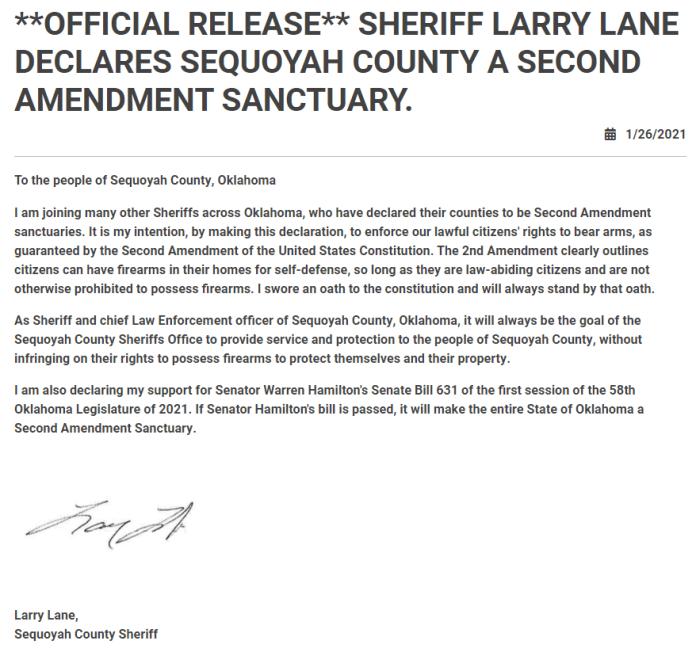 Sequoyah County, Oklahoma Sheriff Second Amendment Sanctuary County Declaration
