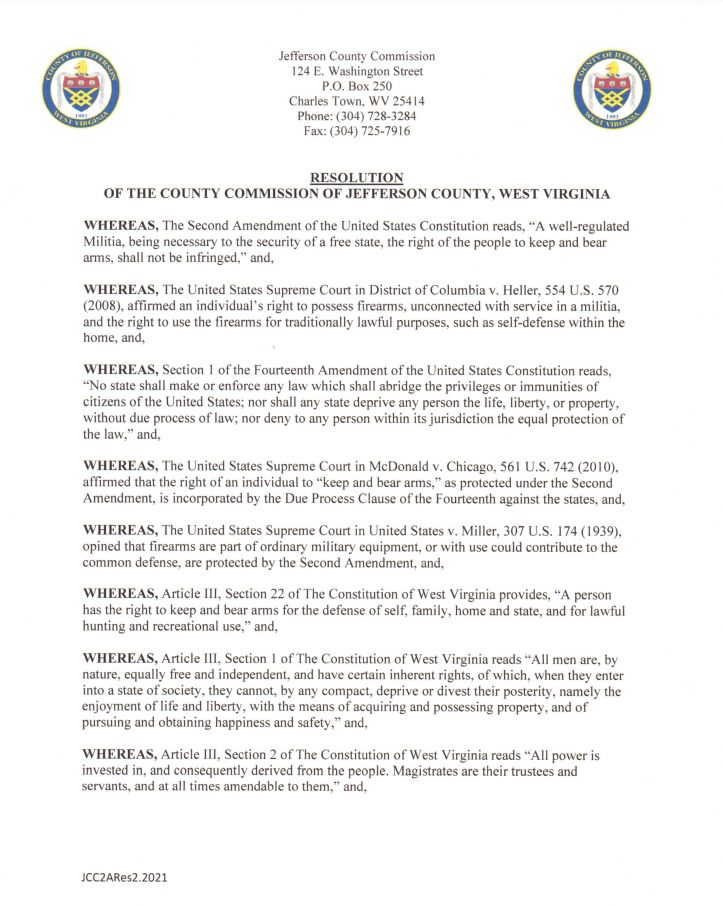 Jefferson County West Virginia Second Amendment Sanctuary Resolution pg1