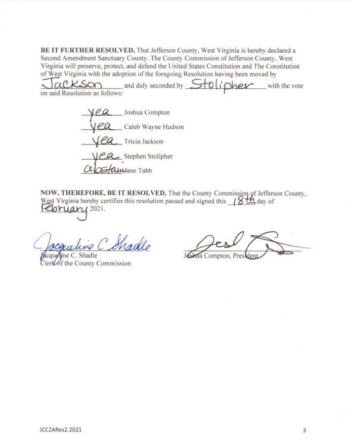 Jefferson County West Virginia Second Amendment Sanctuary Resolution pg3