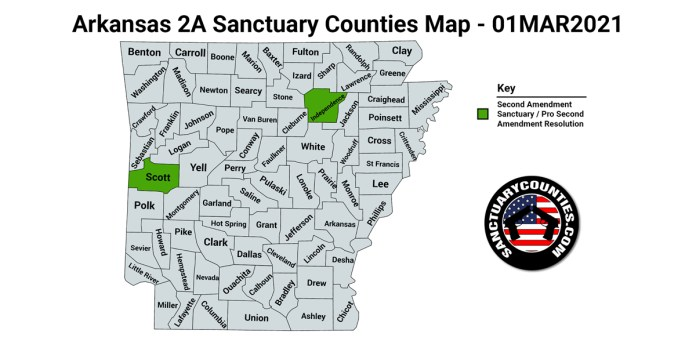 Arkansas Second Amendment Sanctuary State Map