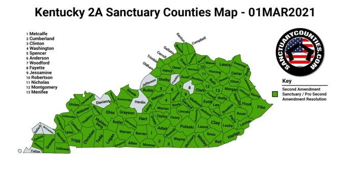 Kentucky Second Amendment Sanctuary State Map