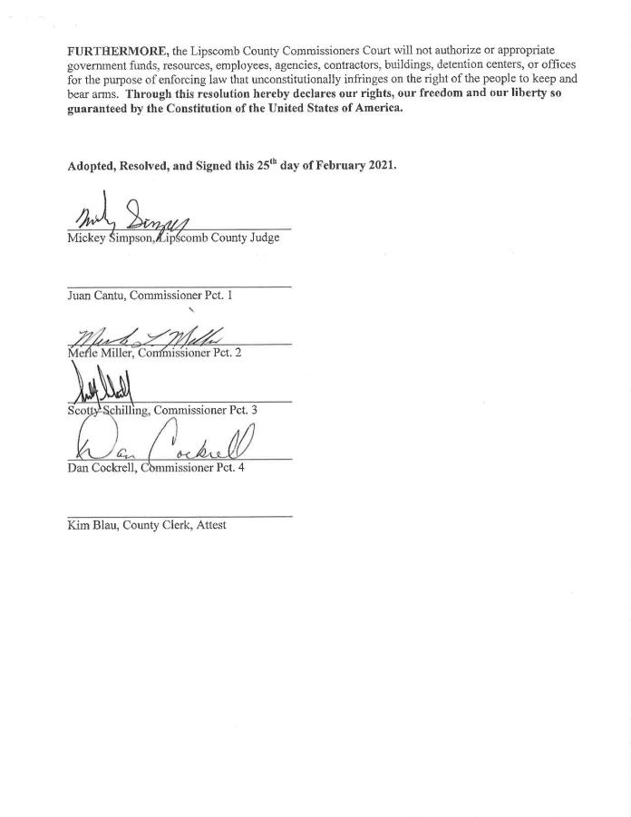 Lipscomb County, Texas Second Amendment Resolution page 2