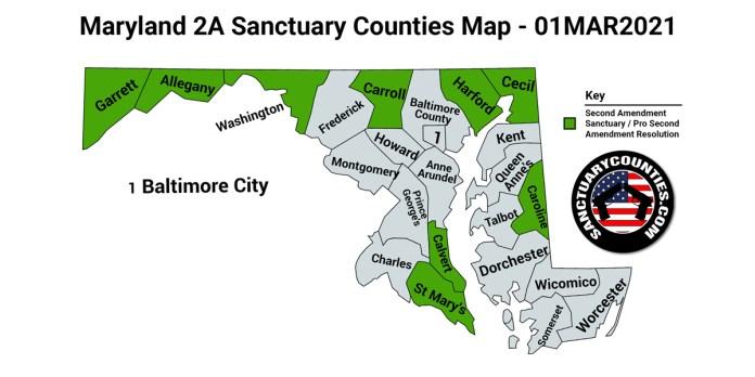 Maryland Second Amendment Sanctuary State Map