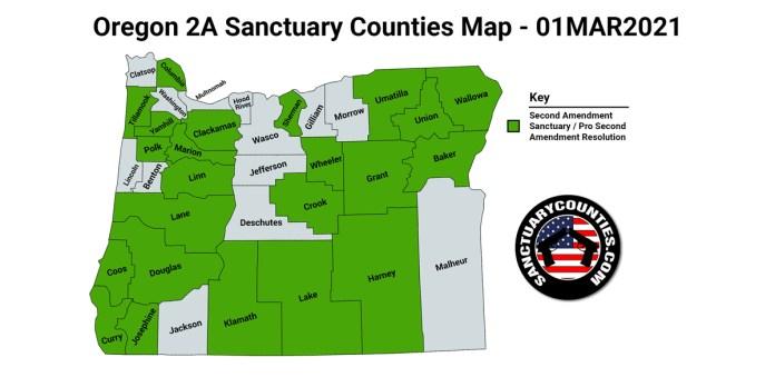 Oregon Second Amendment Sanctuary State Map