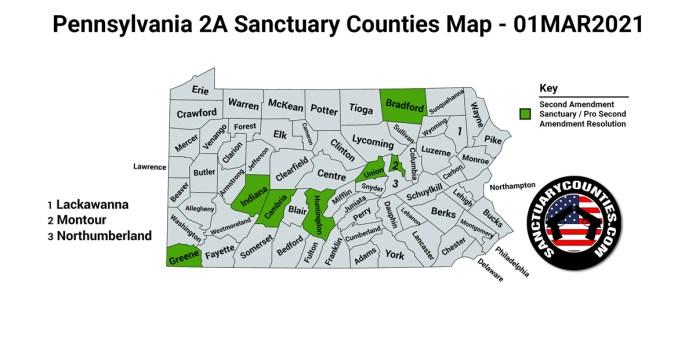 Pennsylvania Second Amendment Sanctuary State Map