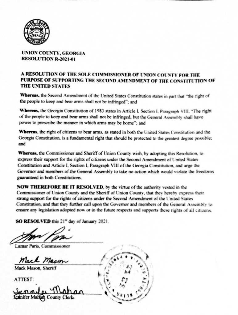 Union County Georgia Resolution R-2021-01