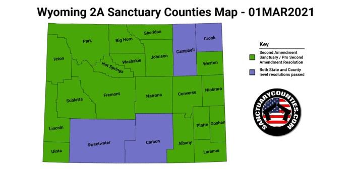 Wyoming Second Amendment Sanctuary State Map