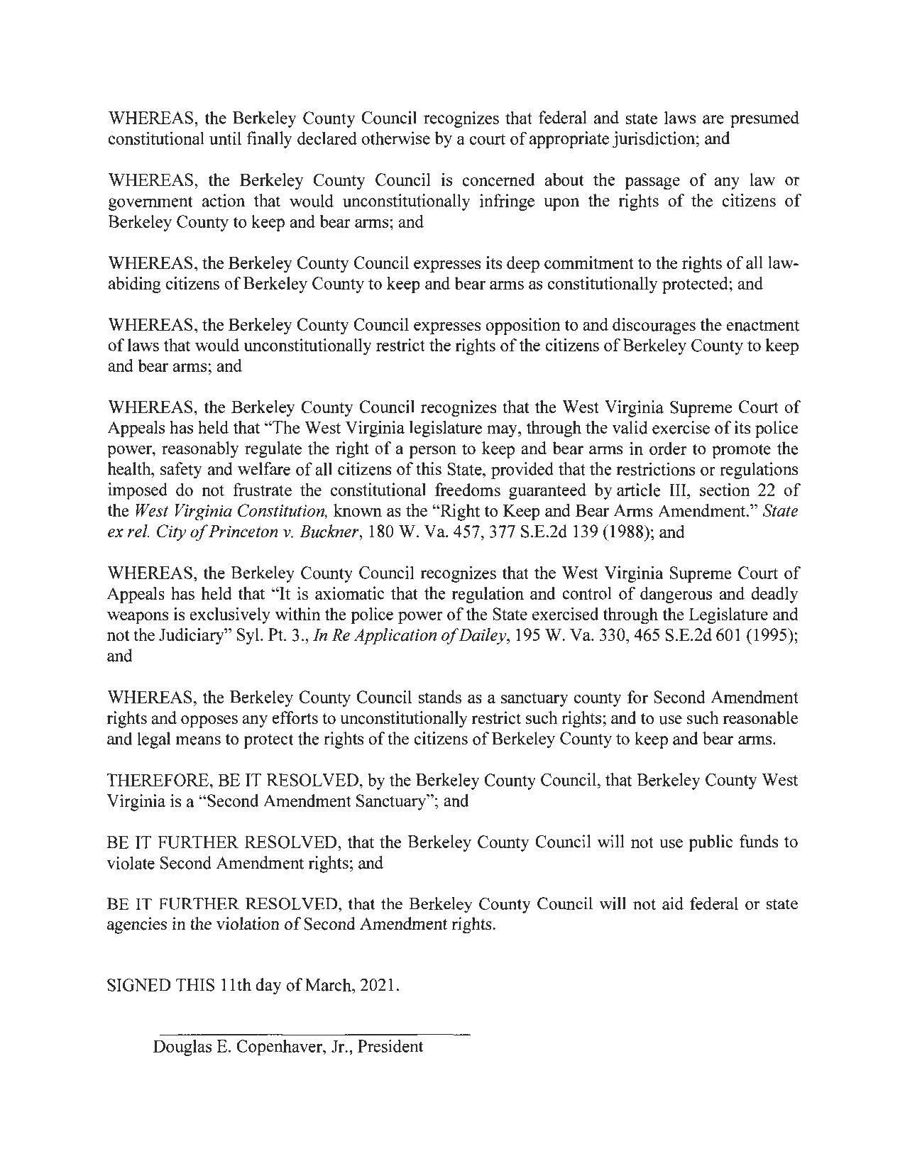Berkley County West Virginia Second Amendment Sanctuary Resolution Page 2