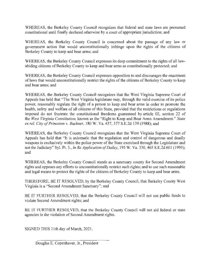 Berkley County West Virginia Second Amendment Sanctuary Resolution Page 2
