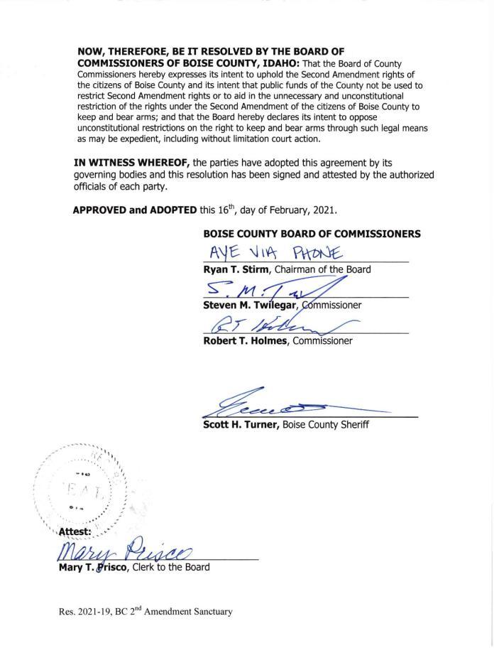 Boise County Idaho Resolution Page 2