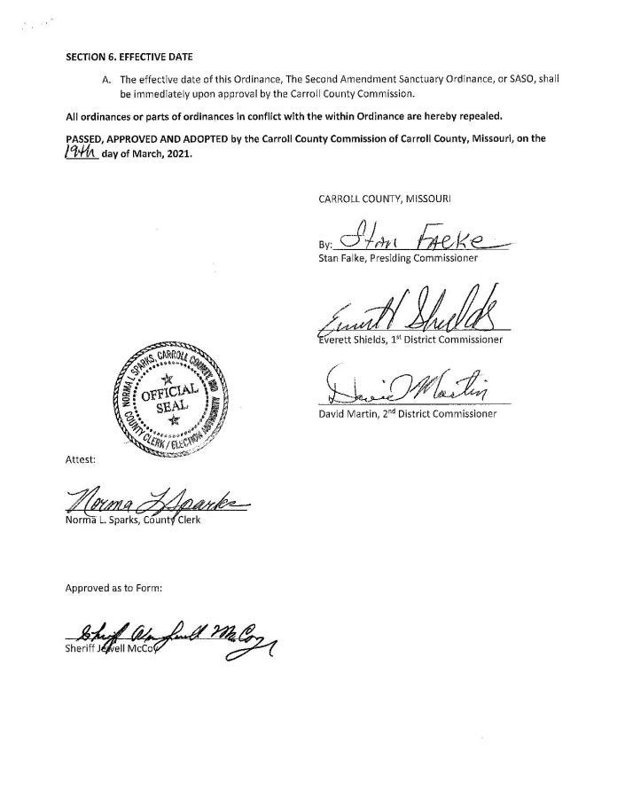 Carroll County Missouri Second Amendment Sanctuary Ordinance Page 4