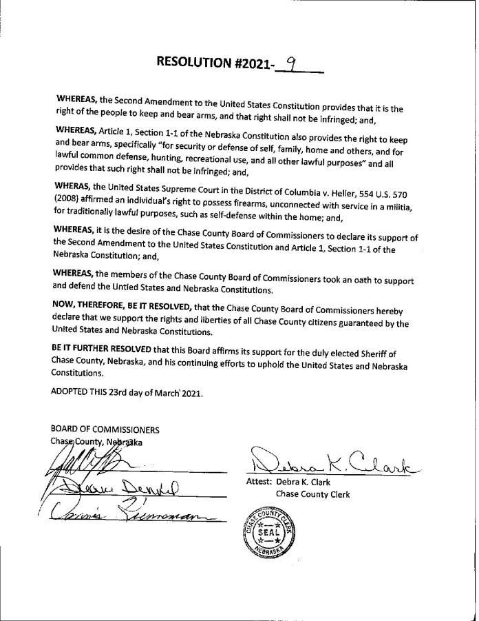 Chase County Nebraska Resolution Second Amendment Signed Page 1