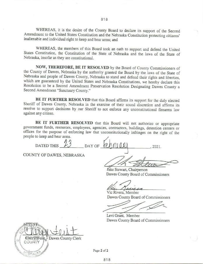 Dawes County Nebraska 2nd Amendment Page 2