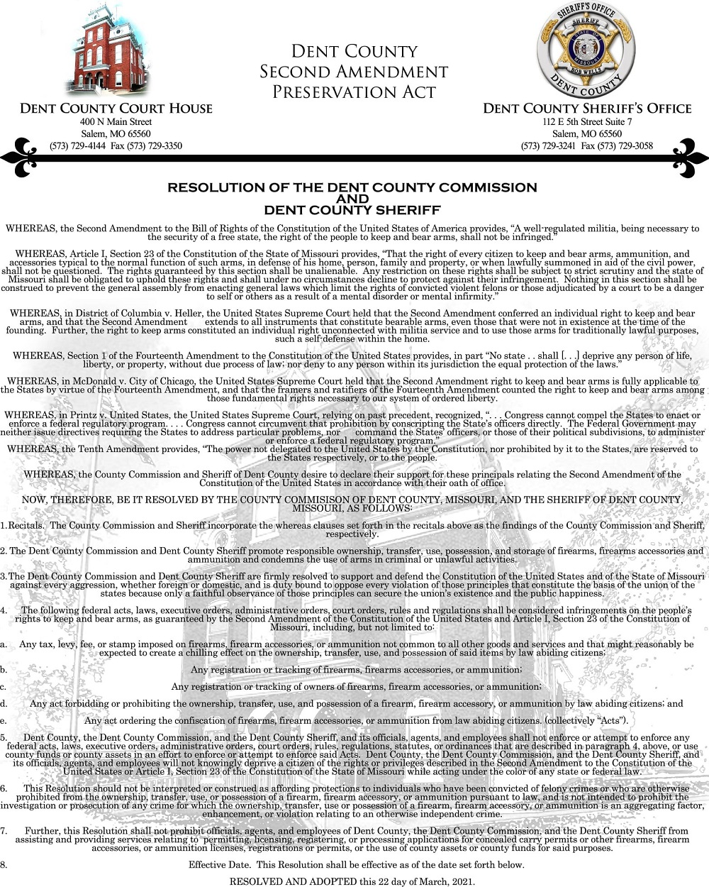 Dent County Second Amendment Preservation Act Page 1