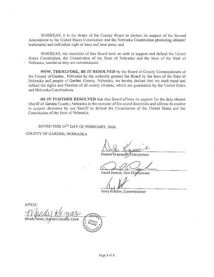 Garden County Nebraska Resolution page 2