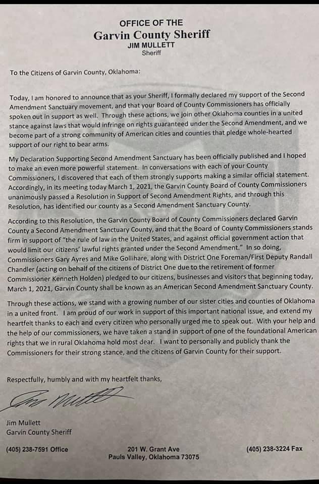 Garvin County Oklahoma Second Amendment Sanctuary Declaration