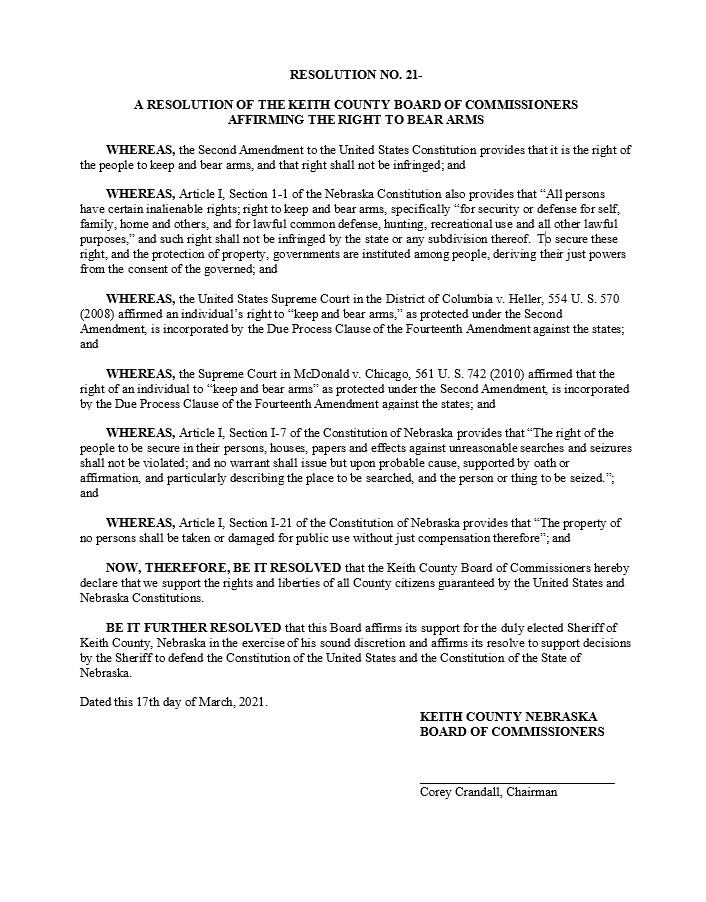 Keith County Nebraska 2nd Amendment Resolution