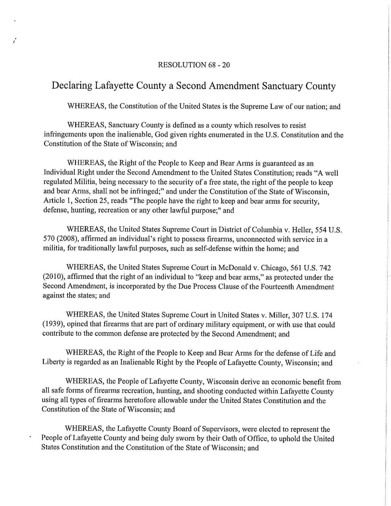 Lafayette County Second Amendment Sanctuary Resolution PG - 1