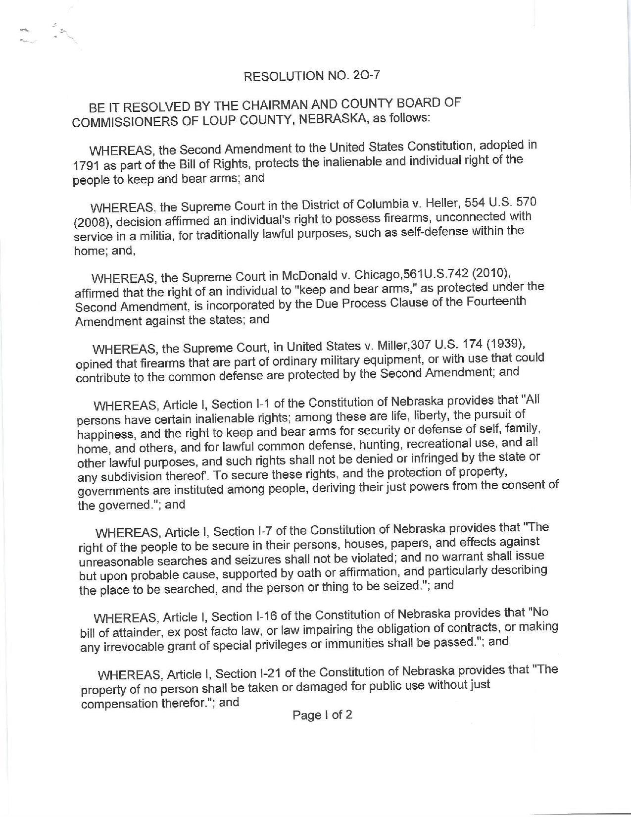 Loup County Nebraska Second Amendment Support Resolution Page 1