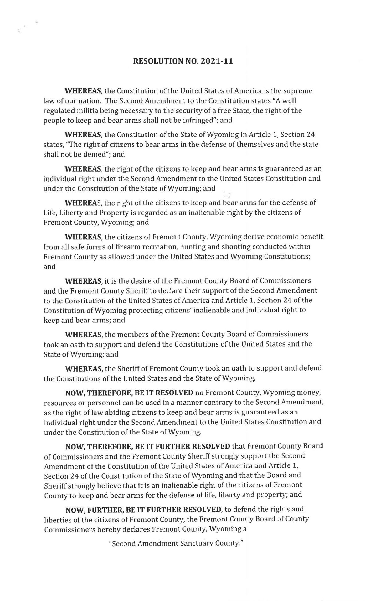 RES-2021-11 Second Amendment Sanctuary Fremont Wyoming page 1