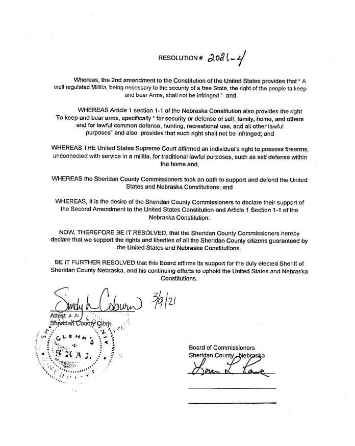 Sheridan County Nebraska Resolution Page 1