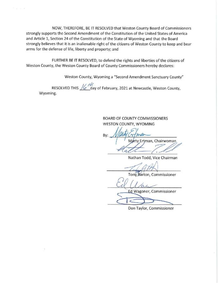 Weston Wyoming RESOLUTION Page 2